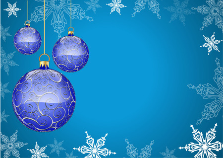 blue christmas background with bauble Vector