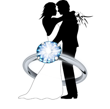 engagement ring couple Vector