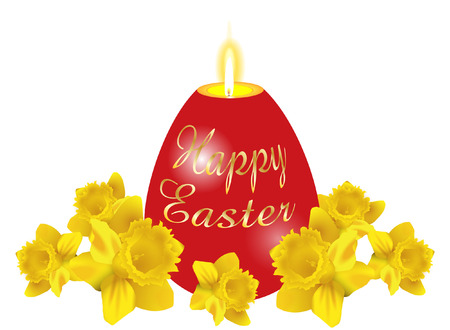 EASTER CANDLE WITH DAFODILS Vector