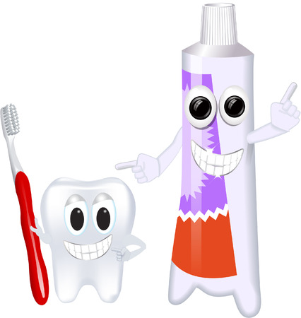 CUTE TOOTHPASTE AND TOOTH Illustration