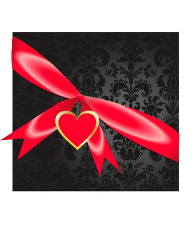 damask black present with heart Vector