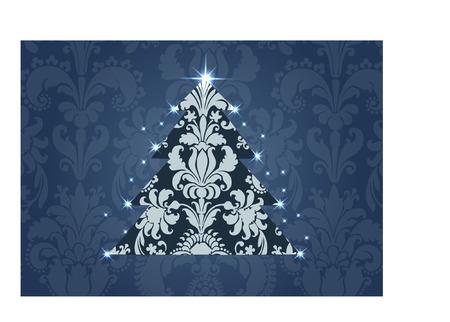 damask christmas tree Vector