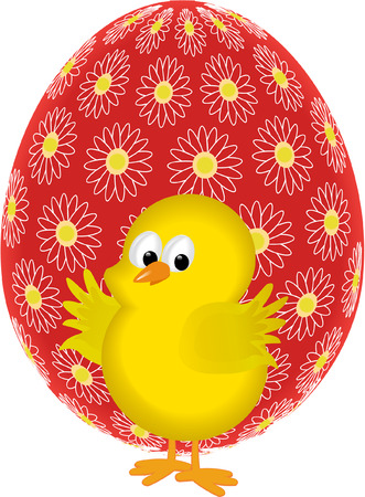 easter chick and egg Vector