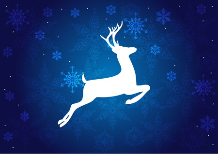 christmas deer on blue background with snowflakes Vector