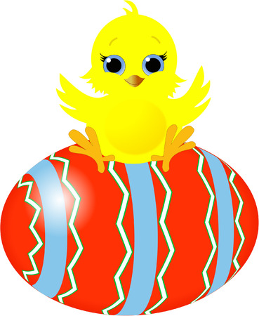EASTER CHICK AND EASTER EGG Vector