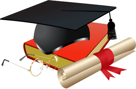 COLLEGE WITH DEGREE AND GLASSES Vector