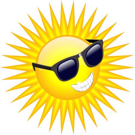COOL SUN WITH SUNGLASSES Illustration