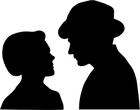 alarmed: silhouette of COUPLE Illustration