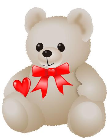 CUTE BEAR WITH HEART Vector