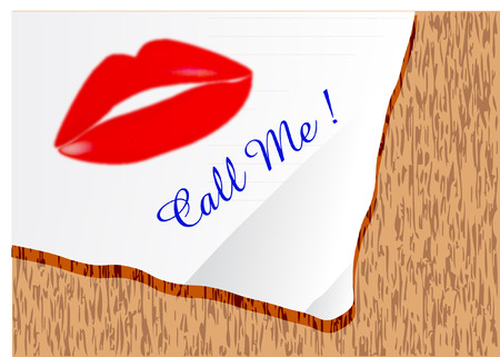 call me: CALL ME note with lip illustration Illustration