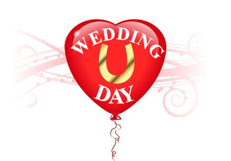 WEDDING DAY BALLOON HEART Vector