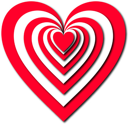 3D RED AND WHITE HEARTS Vector