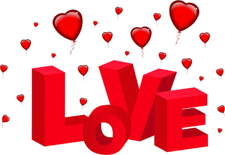 3D LOVE WORD WITH HEART BALLOONS Vector
