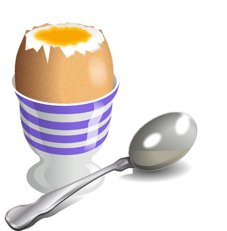 egg cups: BOILED EGG AND SILVER SPOON