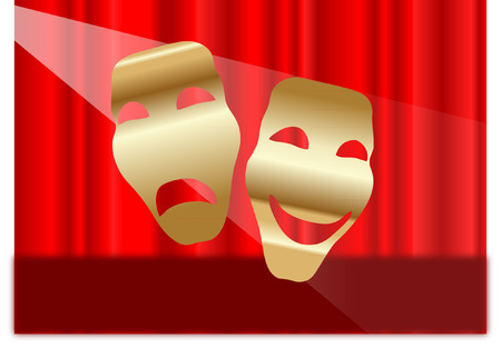 theatre masks: MASKS AND THEATRE CURTAIN