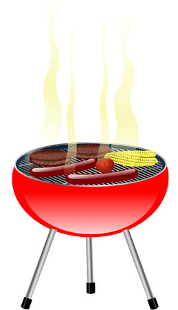 BARBECUE grill on white  Illustration