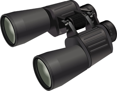 black BINOCULARS on white Illustration
