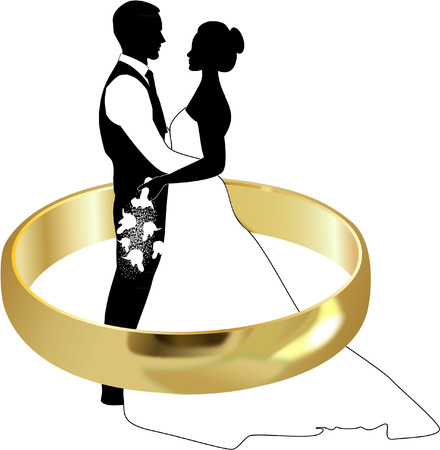 BRIDE AND GROOM WITH GOLD RING Иллюстрация