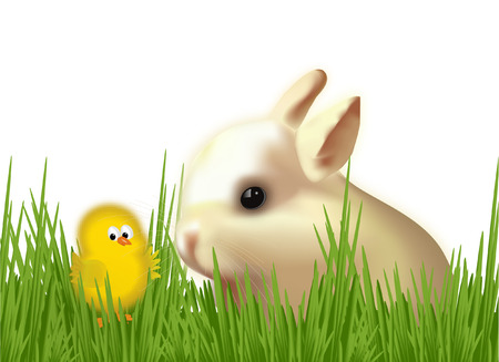EASTER CHICK WITH CUTE RABBIT Vector