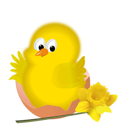 EASTER CHICK WITH FLOWER Vector