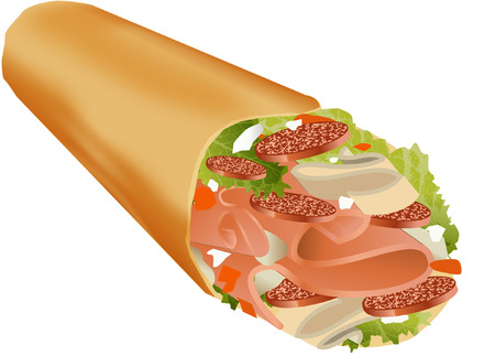 ham and cheese: CHEESE HAM WRAPS Illustration