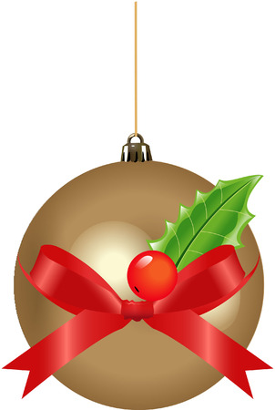 christmas decoration with holly and ribbon Vector