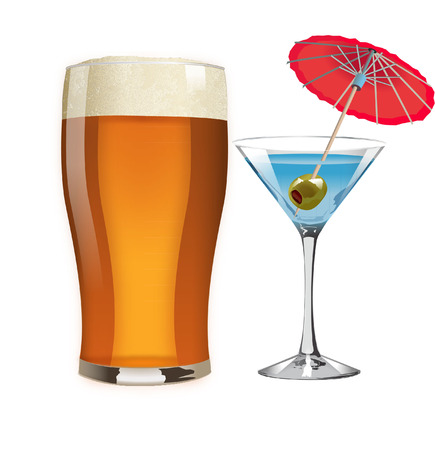 beer and cocktail Vector