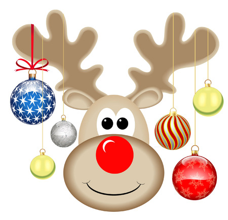 rudolph the red nosed reindeer: cute rudolph with baubles Illustration