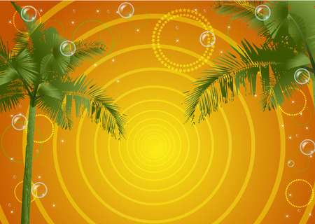 play yoyo: party with palm trees and bubbles Illustration