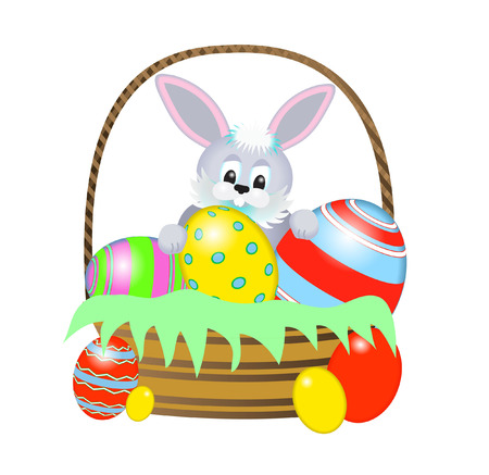 easter basket and rabbit Vector