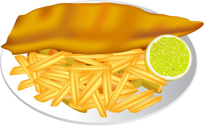 fish and chips: FISH AND CHIPS Stock Illustratie