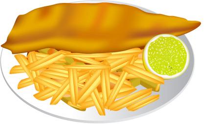 fish and chips: Pescado y patatas fritas Vectores