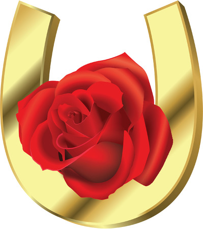 GOLD HORSESHOE WITH ROSE Vector