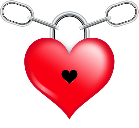 HEART SHAPED LOCK WITH CHAIN Vector