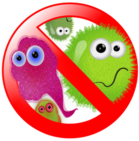bacteria cartoon: NO GERMS WARNING SIGN
