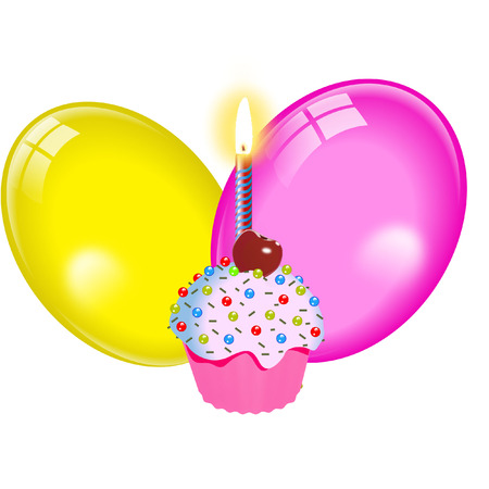 CUPCAKE WITH BALLOONS Vector