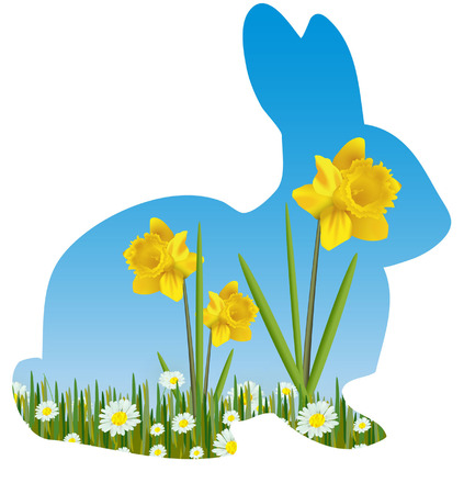 EASTER RABBIT SILHOUETTE WITH DAFODILS Vector