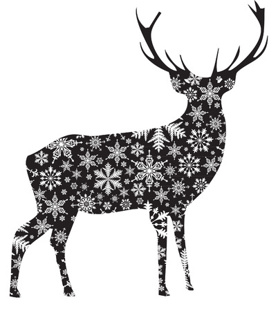 CHRISTMAS DEER WITH SNOWFLAKES Vector