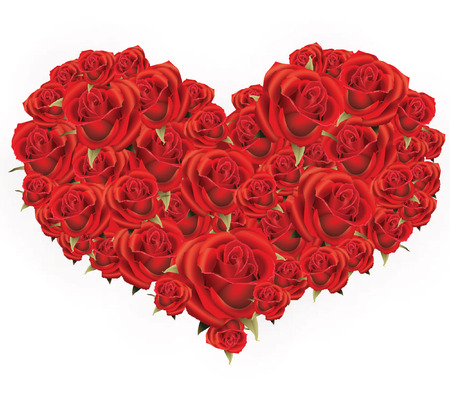 heart shaped roses Vector