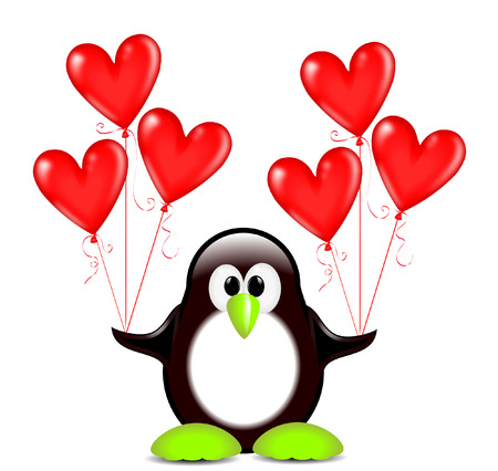 penguin with heart shaped balloons Vector