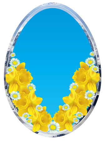 EGG SHAPE FRAME with daffodils and eggs Vector