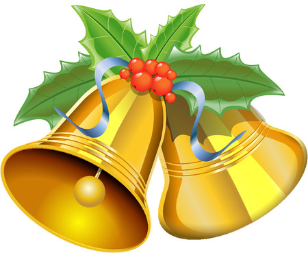 christmas bells with with holly Vector