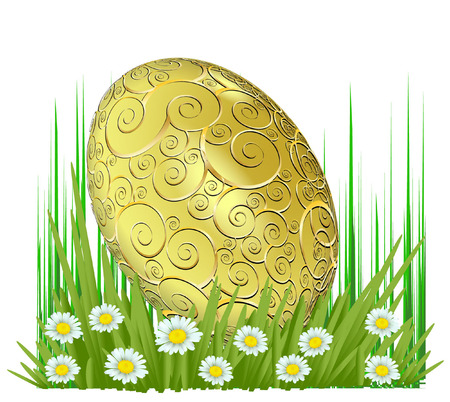 HAPPY EASTER GOLD EASTER EGG Vector