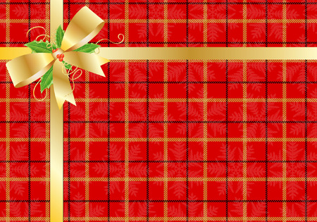 TARTAN PRESENT WITH GOLD BOW AND RIBBON Vector