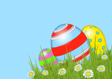 EASTER EGGS AND DAISY Illustration
