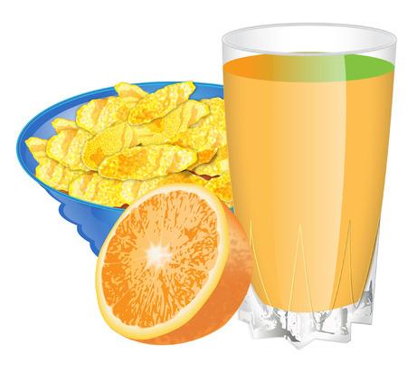 glass half full: cornflakes and orange jucie