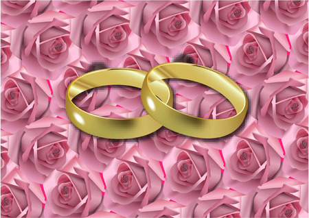 WEDDING GOLD RINGS AND ROSES