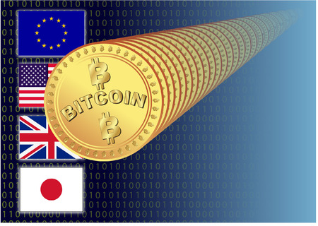open source: BITCOIN WITH FLAGS Illustration