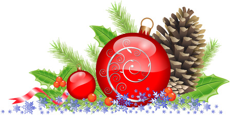 CHRISTMAS BAUBLES AND CONE Vector