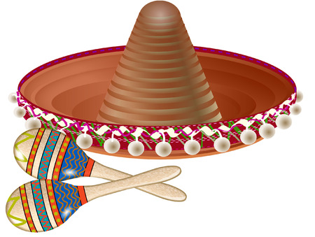 mexican sombrero on a white background with copy space Vector